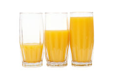 Three glasses with orange juice Royalty Free Stock Photos