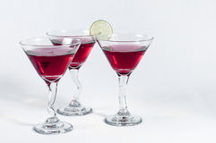 Three glasses of Red Martini. Ready to be serve Royalty Free Stock Image