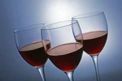 Three glasses with red wine Stock Photo