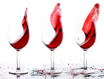 Three glasses of red wine Stock Photo