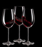 Three glasses of red wine Royalty Free Stock Photos