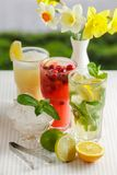 Three glasses of refreshing drink Mohito. Classic mint, cranberry and orange on a table with slices of lemon, lime, a bowl with ice and yellow flowers Royalty Free Stock Photography