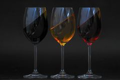 Three glasses same oblique Royalty Free Stock Images