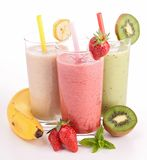 Three glasses of smoothies Stock Photography