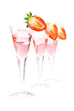 Three glasses of strawberry cocktail Royalty Free Stock Photo