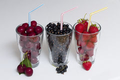 Three Glasses of Summer Fruit Royalty Free Stock Images
