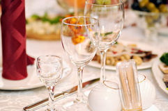 Three glasses on table Royalty Free Stock Photos