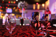 Three glasses on the table. Design for banquets, celebrations, birthdays, weddings, romantic evening Royalty Free Stock Photos