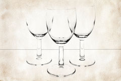 Three glasses on vintage paper Royalty Free Stock Photography