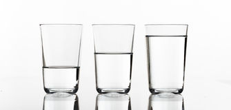 Three glasses of water Stock Photography