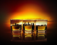 Three glasses of whiskey Stock Image