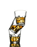 Three glasses of whiskey on the rocks Royalty Free Stock Photo