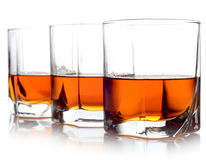 Three glasses of whiskey Royalty Free Stock Images