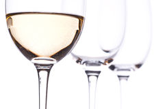 Three glasses with white wine Royalty Free Stock Photography