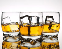 Three glasses of whskey Royalty Free Stock Photo