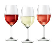 Three-glasses-of-wine. Three glasses with black, white and red wine Royalty Free Stock Image