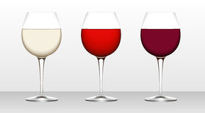 Three glasses of wine. White, blush, burgundy. Vector illustration using gradient meshes Stock Photo