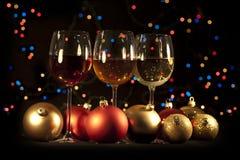 Three glasses of  wine. Set of three wine glasses ready for celebrating Stock Image