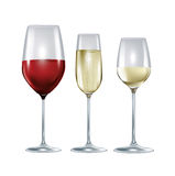 Three glasses with wine and champagne isolated Stock Images