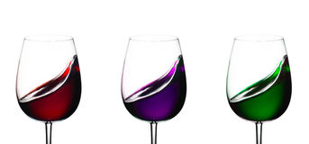 Three glasses with wine Stock Photos