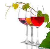 Three glasses of wine isolated on white Stock Photos