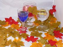 Three glasses of wine. Red blue and white set among colourful autumn leaves Stock Images