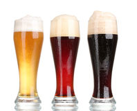 Free Three Glasses With Different Beers Royalty Free Stock Images - 23761109