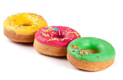 Three glazed donut isolated on white background Royalty Free Stock Photo