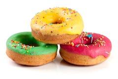 Three glazed donut isolated on white background Stock Photography