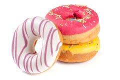 three glazed donut isolated on white background Stock Image