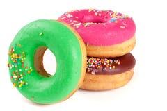 Three glazed donut  on white background Royalty Free Stock Photo