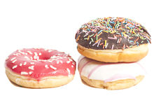 Three glazed donuts  on white Stock Photo