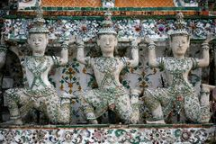 Three Glazed God Statues Thailand Royalty Free Stock Photography