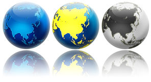 Three globe variations Asia and Oceania Stock Photos
