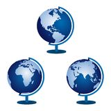 Three globe on a white background. Vector illustration Stock Photo