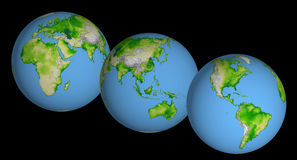 Three Globes. Three textured earth globes vector illustration