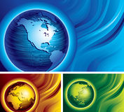 Three globes. Three banners with brushed metal globes on abstract backgrounds. Eps8. CMYK. Organized by layers. Global colors. Gradients used Royalty Free Stock Photos