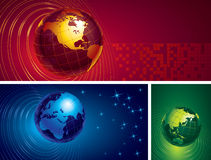 Three globes. Three banners with metal globes on abstract backgrounds. Eps8. CMYK. Organized by layers. Global colors. Gradients used Stock Photos