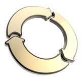 Three glossy arrow segment emblem tag isolated Royalty Free Stock Images