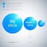Three glossy circles of different sizes. Royalty Free Stock Photography