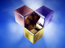 Three glowing cube Royalty Free Stock Photo