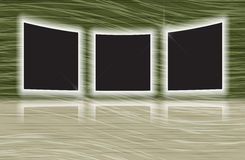 Three glowing photo frames with reflections Stock Photography