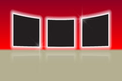 Three glowing photo frames with reflections Royalty Free Stock Image