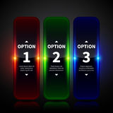Three glowing vertical banners with numbers and descriptions. Useful for web design, advertising or presentations. Stock Image