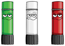 Three glue sticks. Three colorful glue sticks illustration. Red, white and green royalty free illustration