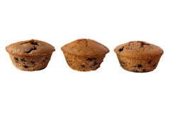 Three gluten free muffins isolated Royalty Free Stock Image