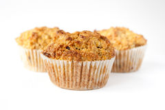 Three gluten free muffins isolated Stock Image