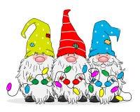 Three gnomes with Christmas lights. Christmas greeting card. Three gnomes with Christmas lights
