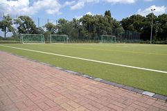 Three goals. On a hockey field with artificial turf stock photography