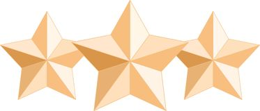 Three gold award stars royalty free illustration
